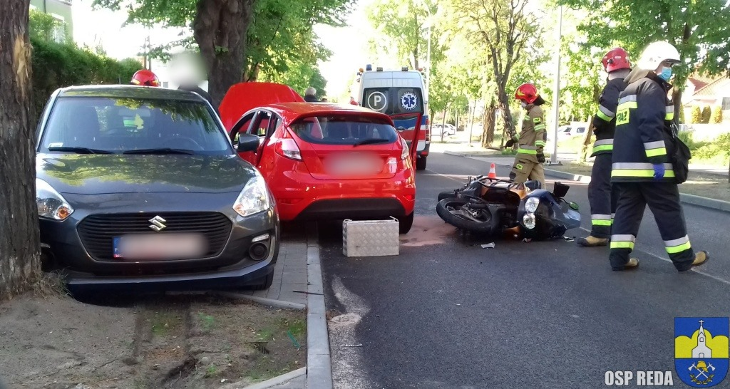 Wypadek z udziałem motocyklisty na ul. Żwirki i Wigury w Rumi